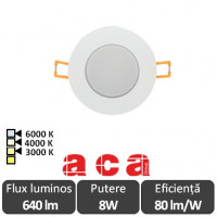 Spot Vera Led Rotund 8W IP65 3000/4000/6000K - ACA Lighting 19327