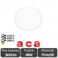 Plato Panou Led Rotund Alb 48W 3000/4000/6500K - ACA Lighting 80003